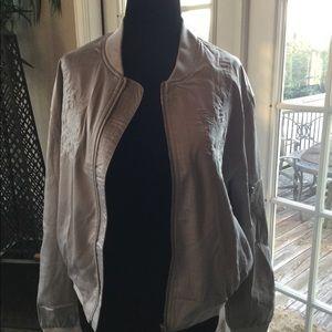 Silver/grey satin bomber jacket